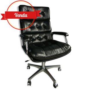 fauteuil de bureau vintage en cuir,fauteuil de bureau design en cuir,fauteuil de bureau cuir et chrome,fauteuil de bureau capitonné,chesterfield,vintage,design,cuir noir,osvaldo borsani,tecno