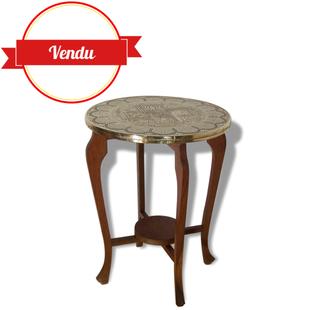 Guéridon, vintage,petite, table, ancienne, bois, et ,cuivre