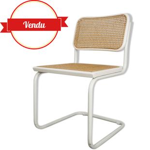 marcel breuer,chaise paille,chaise rotin ,chaise cannage,chaise marcel breuer b32 blanche,white chair,breuer,design et vintage,vintage,design,tubulaire,cantilever,bureau,majdeltier