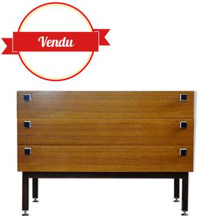 combineurop,commode,commode combineurop, commode guariche,teck,3 tiroirs,large,minimaliste,1950,1960