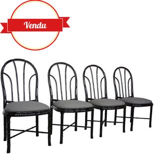chaises en bois laqué noir,chaises noir,chaises confortables,chaises assise large,chaises noir,chaises bois,faux bambou,rotin noir,chaises vintage,chaises design,1970,années 70,années 60,circa,stoel,chair,majdeltier