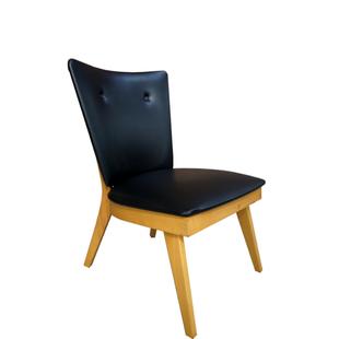 fauteuil cocktail vintage,fauteuil cocktail, cocktail,rétro,vintage,bois,simili cuir,noir,bois,low chair,ancien,capitonné,mid century,1950,années 50