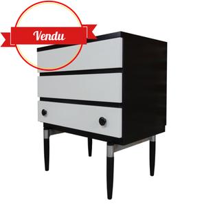 commode vintage, blanc et noir, vintage, 1960, pieds fuseau, compas, design, minimaliste