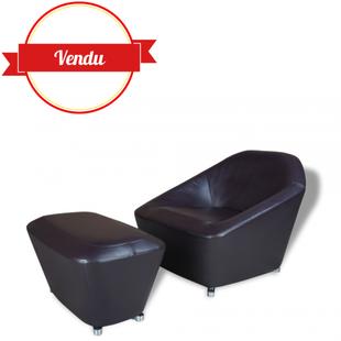 fauteuil cuir et ottoman, design cinna, françois bauchet, made in france, via, diamant, roche bobois,canapé cinna,