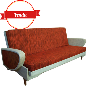 canapé,vintage,daybed,convertible,lit,1950,1960,simili,cuir,compas,tissu,rouge,canapé lit vintage,canapé convertible design 1950