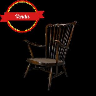 Fauteuil ercol, fauteuil scandinave, 1950, 1960, orme massif, courbé,oreille, wing back, ercol, vintage, double bend bow