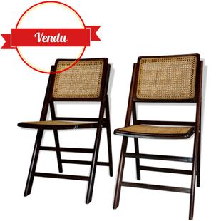 chaise pliante,paire de chaises pliantes,vintage,1950,1960,bois,cannage,cannées,pratique,chic,french,old,rotin