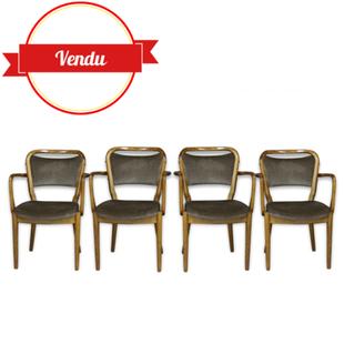 Inspiration scandinave, style bistrot chic 4 fauteuils Spahn Stadtlohn des années 60, bois courbé vintage,scandinave, allemagne, velours, chaises, bois courbé, thonet, ton ,chaises bistrot, chaises bistro, chaises scandinaves, tissu, accoudoirs, retro