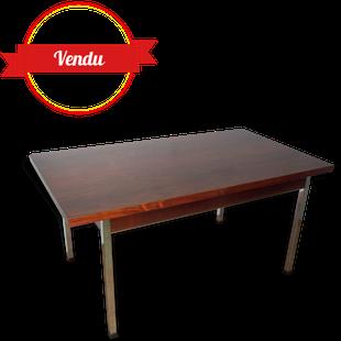 table,rectangulaire, palissandre, extensible, pieds chromés, rallonges, vintage,moderne