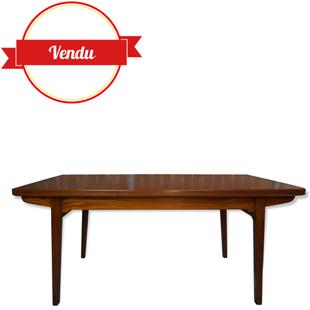 table teck, table vintage teck, jos de mey, van der berghe, 1950,1960,design,vintage,extensible,salle a manger,rare,teck,tonneau