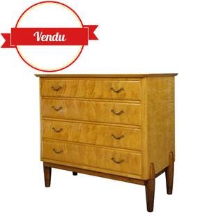 commode vintage citronnier 1960, commode vintage, commode bois clair,1960,1950,éclairage, 4 tiroirs, pieds fuseau