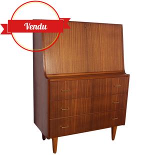 secrétaire bureau scandinave teck vintage 1960 ,commode,buffet,rangement,laiton,1950,1960,galbé