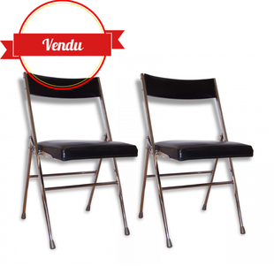 chaise,pliante,dossier,miroir,chromé,simili,cuir,noir,vintage