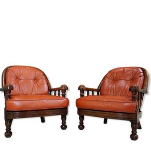 paire de fauteuils rustique,fauteuil vintage bois,fauteuil ercol coussin cuir,fauteuil dossier bois courbé,bois courbé,fauteuil rustique, fauteuil vintage,fauteuil cuir rouille,fauteuil pieds boule