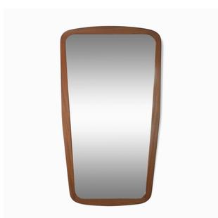 miroir vintage de forme libre,miroir scandinave en bois,miroir design scandinave en teck,miroir arrondi,miroir ancien,majdeltier