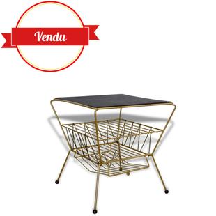 table basse, appoint,bout de canapé or, chevet,vinyl,1950,1960,vintage,or,fil,scoubidou,doré