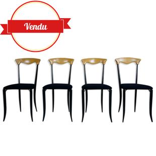 chaises sculpturales,originale, vintage, italienne, chaises design italien,chaises originales,metal noir, bois courbé, vintage, suédine