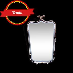 miroir biseauté laiton, miroir 1950, miroir 1960, miroir vintage, miroir laiton, miroir rétro, miroir moderne