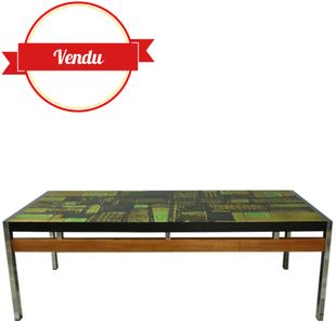table basse céramique,céramique colorée,céramique verte,coffee table Vigneron 1950,céramique et bois,chrome,vintage,table basse vintage,table basse design ancienne,moderniste