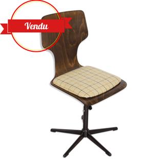 pagholz,coque en bois,chaise de bureau bureau vintage,années 60 ,années 70, années 50,assise tweed,tissu ,réglable en hauteur