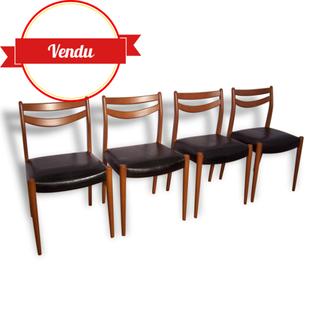 chaise,chaises,scandinave,danoise,1950,1960,bois,noir,simili,cuir,skai