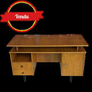 bureau, bureau scandinave, bureau 1960, bureau en bois vintage, bois  tiroirs pieds compas, hairping legs,