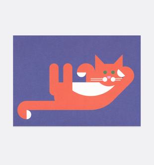 Postkarte Katze liegend für Kinder . Julia Matzke . Illustration . Bilder für Kinder
