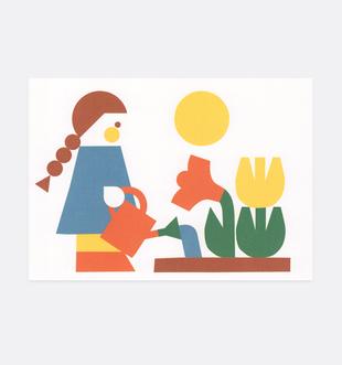 Postkarte Kind Blumen für Kinder . Julia Matzke . Illustration . Bilder für Kinder