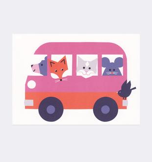 Postkarte Tiere Bus für Kinder . Julia Matzke . Illustration . Bilder für Kinder