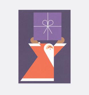 Postkarte Weihnachten Weihnachtsmann Geschenk für Kinder . Julia Matzke . Illustration . Bilder für Kinder