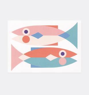Postkarte Fische für Kinder. Julia Matzke . Illustration . Bilder für Kinder