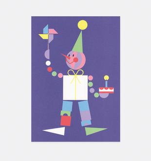 Postkarte Geburtstag Harlekin für Kinder . Julia Matzke . Illustration . Bilder für Kinder