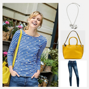 Mittelblaues Streifenshirt steht dem  Sommertypen