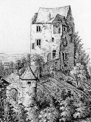 Schloss Salenstein 1841, nach dem Abbruch der Neuburg. Zeichnung F. Wagner