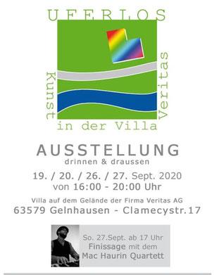"""Plakate und Flyer zur Ausstellung """"UFERLOS"""" in Gelnhausen, wurden rege von den Mitgliedern des Kunstvereins aus Meerholz verteilt."""