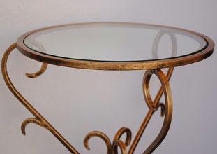 アクセントテーブル エンドテーブル ランプテーブル サイドテーブル ガラス天板 ラウンドテーブル 丸テーブル アイアン
