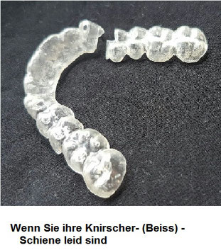 Beiss-Schiene kaputtgebissen mit Loch, Bruxismus, Zähneknirschen, CMD
