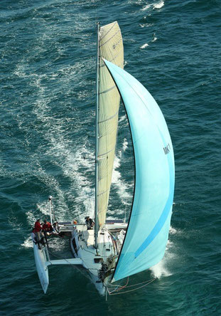 Trimaran Akimbo - great arial shot by Julie Geldard