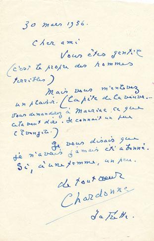 Jacques CHARDONNE lettre autographe signée