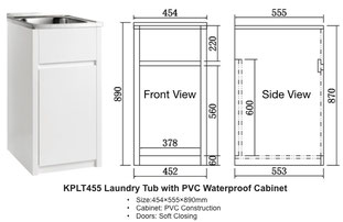 KPLT455 Laundry Tub with PVC Waterproof Cabinet 455x555x870mm