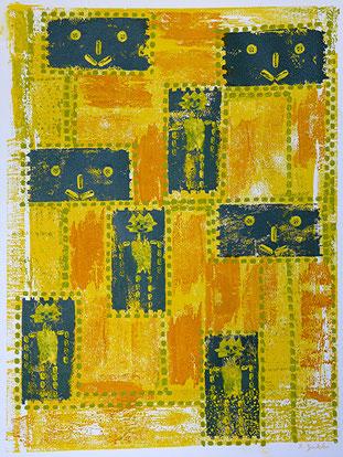 Querköpfe: Materialdruck, Zeichnung auf Papier, 50 x 38 cm, 2012
