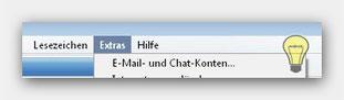 Opera E-Mail- und Chat- Konten Menu