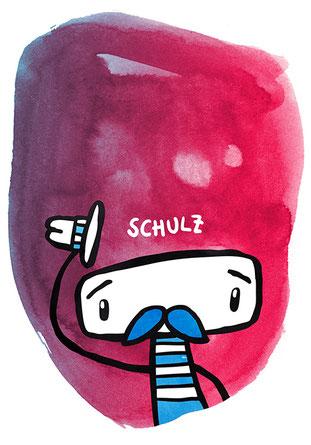 Zeichnung mit Aquarell von Frank Schulz Art Berlin - Maskottchen kleiner Mann mit Schnurrbart zieht den Hut