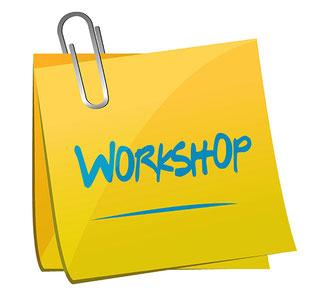 """Post-it bezeichnet """"Workshop"""""""