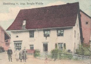Die Handlung Brogle war bis 1978 offen. (Ausschnitt aus einer Postkarte von ca. 1914)