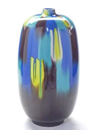 九谷焼通販 おしゃれな花瓶 花器 三彩 正面の図