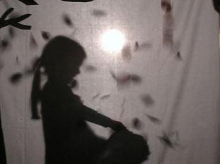 """In einem Schattentheater spielen die Kinder die Geschichte vom """"Sterntaler""""."""