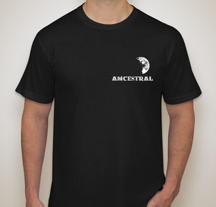 Front of Tee Shirt, Half Moon over left chest area, Text ANCESTRAL