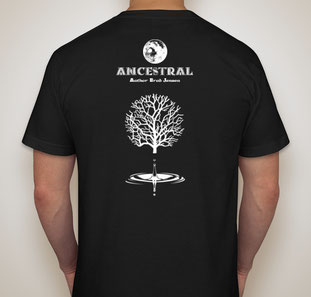 Back of Tee Shirt, Moon, Text ANCESTRAL, Text Author Brad Jensen, Family Tree, Drop Of Water In a Still Pond