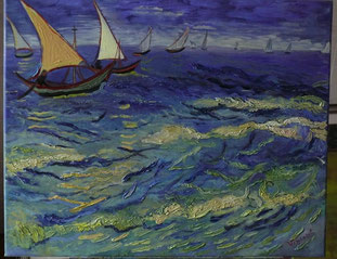 FISHING BOATS AT SEA,  VINCENT VAN GOGH, OIL ON CANVAS, 40X50 CM, YEAR 2014